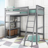 Grandview Gray Twin Loft Bed Shelves on Left-Ladder on Right Room