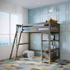 Chilton Brushed Clay Twin Loft Bed Shelves on Right-Ladder on Left Room