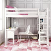 Wilde White Twin Loft Bed with Desk Desk on Left Inside Front View Room