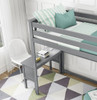 Grandview Gray Twin Loft Bed with Desk Top View Room