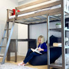 Chilton Brushed Clay Twin Loft Bed with Desk Underbed Detail