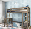 Chilton Brushed Clay Twin Loft Bed with Desk Desk on Left Outside Room