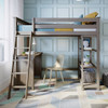 Chilton Brushed Clay Twin Loft Bed with Desk Desk on Left Inside Front View Room