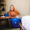 """Big Joe Dorm Bean Bag Chair Sapphire Blue with Adult Room (Person in photo is 5'4"""")"""
