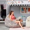 "Big Joe 132"" Teardrop Faux Fur Bean Bag with Girl Gray Room"