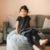 Big Joe Small Fuf Bean Bags for Kids with Toddler Gray Room