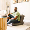 """Big Joe Grab & Go Bean Bag Chairs with Adult Steel Gray Room (Adult in photo is 5'8"""" tall)"""