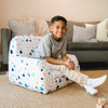 """Big Joe Mid Mod Toddler Bean Bag Chair with Kid Dolce Terrazzo White Patterned Print Room (Kid is 3'9"""" tall)"""