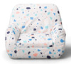 Big Joe Mid Mod Toddler Bean Bag Chair Front View Dolce Terrazzo White Patterned Print