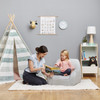 Big Joe Mid Mod Toddler Bean Bag Chair with Toddler & Adult Frolic Wonderland Gray with White Dots and Stripes Print Room