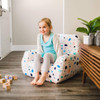 """Big Joe Mid Mod Toddler Bean Bag Chair with Toddler Dolce Terrazzo White Patterned Print Room (Toddler is 3'5"""" tall"""")"""