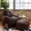 Big Joe Nestle Vegan Leather Small Bean Bag Ottoman shown with Optional Chair Espresso Room