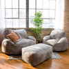 Big Joe Nestle Vegan Leather Large Bean Bag Ottoman shown with Optional Loveseat and Chair Cement Room