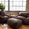 Big Joe Nestle Vegan Leather Large Bean Bag Ottoman shown with Optional Loveseat and Chair Espresso Room