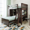 Silas Espresso L Shape Loft Bed Right Side Angled View Room