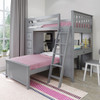Almere Gray L Shape Loft Bed Right Side Angled View Room