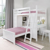 Chelsea White L Shape Loft Bed Right Side Angled View Room