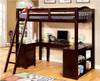 Travis Loft Bed with Desk and Storage dark walnut in room