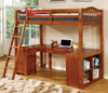 Travis Loft Bed with Desk and Storage oak in room