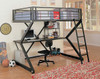 Astro Metal Matte Black Full Size Loft Bed with Desk
