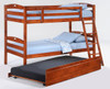 Sullivan Twin over Twin Bunk Beds for Kids shown with Optional Twin Trundle Cherry Finish