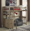 Crosspointe Driftwood Loft Bed with Storage twin size in room