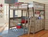 Crosspointe Driftwood Loft Bed with Storage full size in room