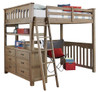 Crosspointe Driftwood Loft Bed with Storage full size