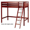Dawson Chestnut High Twin Loft Bed shown with Optional Angled Ladder
