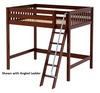 Dawson Chestnut High Full Size Loft Bed shown with Optional Angled Ladder