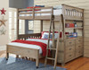 Crosspointe Driftwood L Shaped Loft Bed full over full size in room