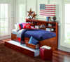 Duncan Brown Cherry Big Bookcase Twin Trundle Bed with Storage Room
