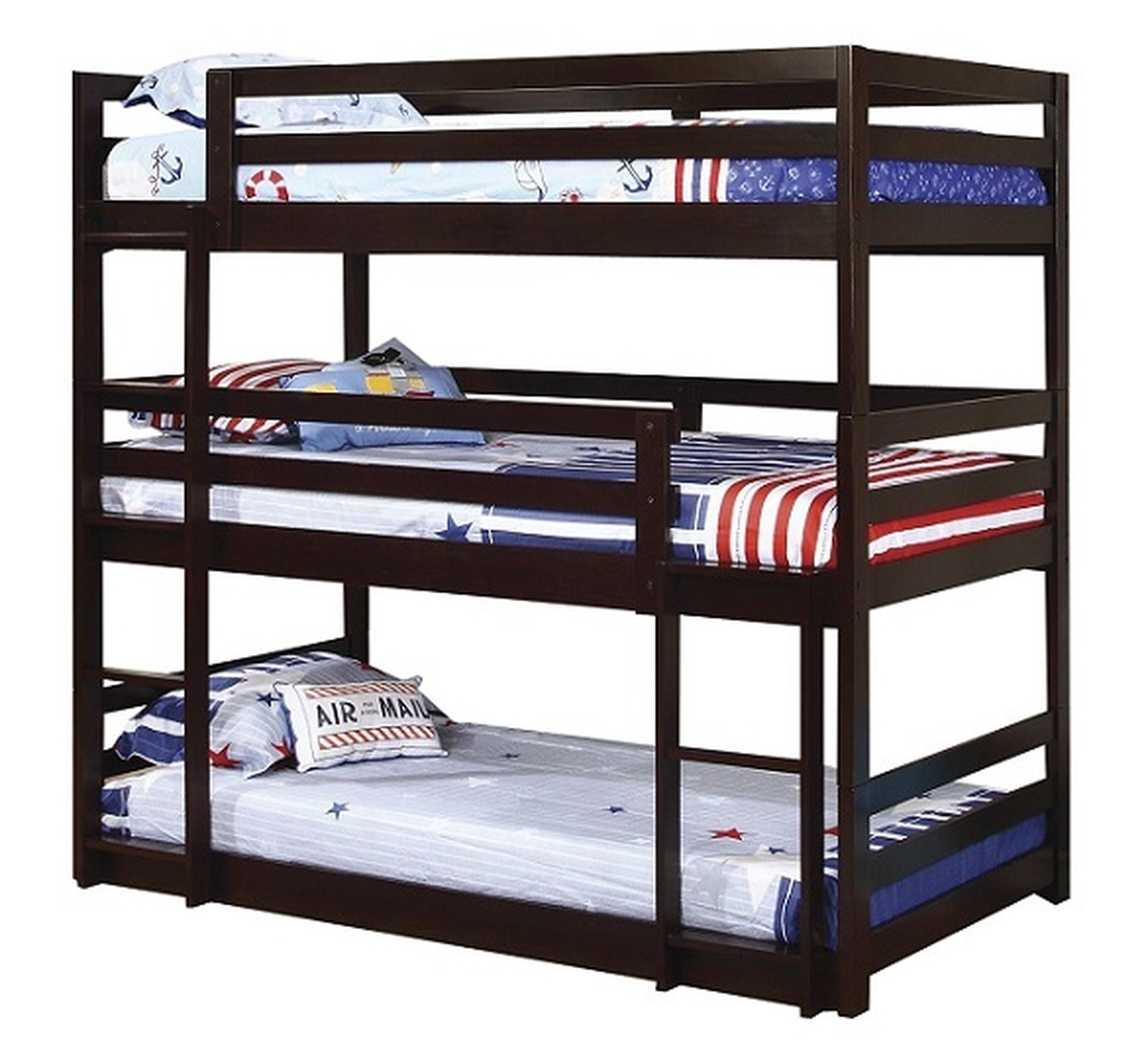 Wyatt Cappuccino Twin 3 Tier Bunk Bed