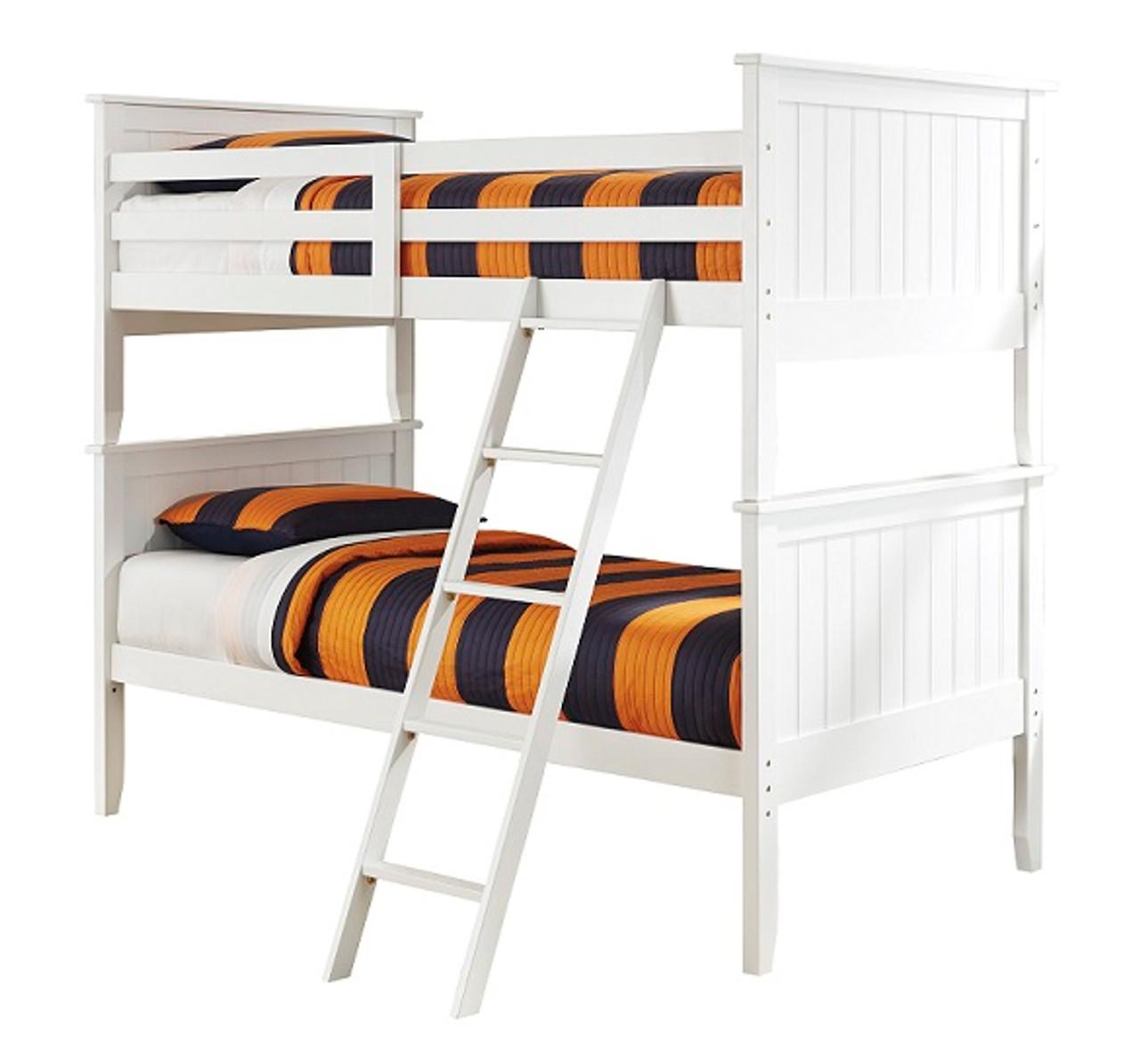Milan White Twin Bunk Beds