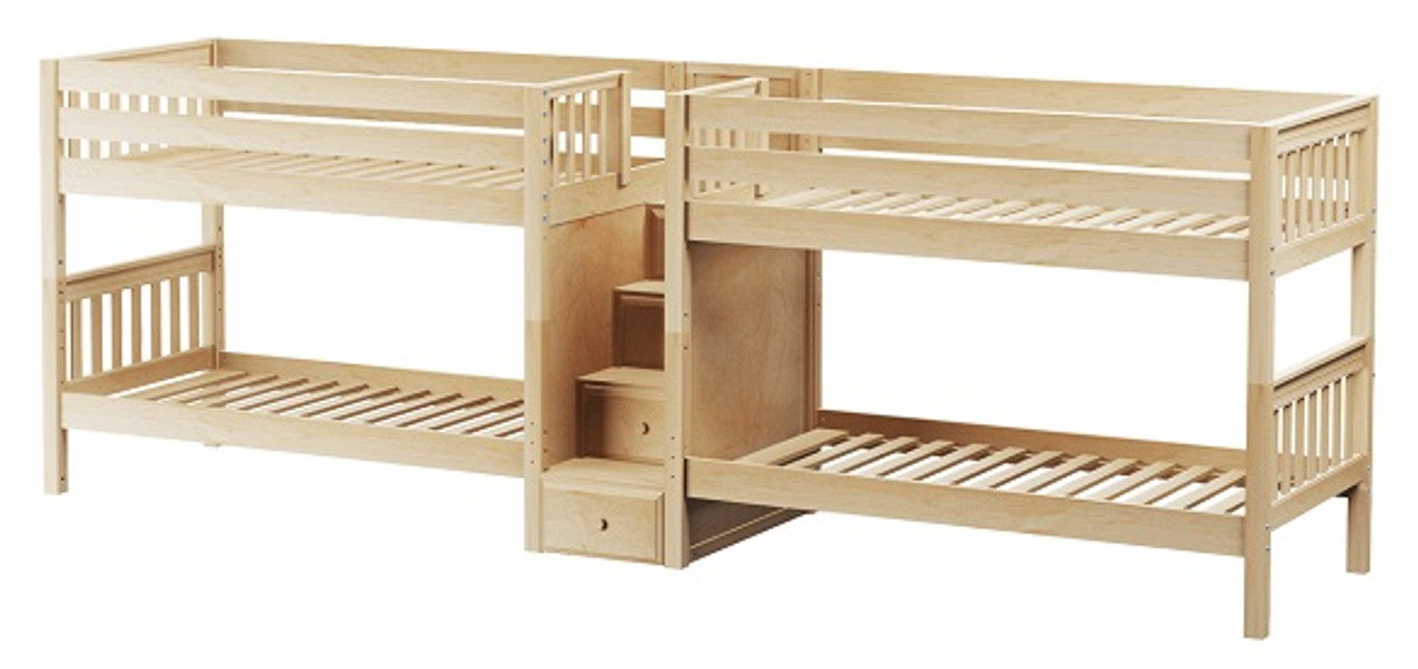 Melrose Natural Quadruple Bunk Bed With Stairs