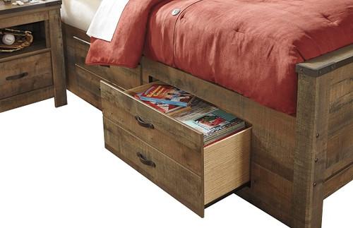 Ramada Plank Set of 2 Underbed Storage Drawers Distressed Brown