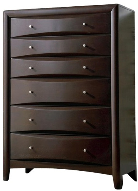 Leon 6 Drawer Tall Chest of Drawers Cappuccino
