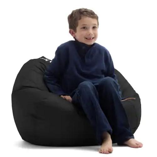 Midnight Black Bean Bag Chair for Kids