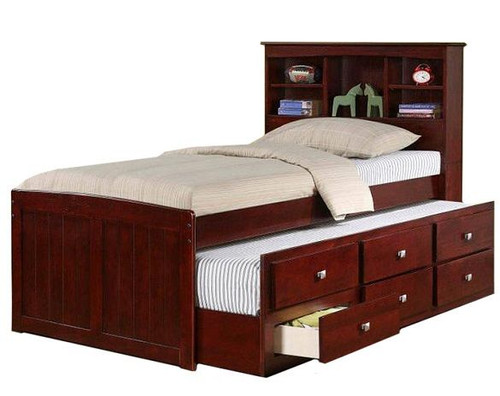 Weatherford Twin Size Bookcase Combo Captain's Bed Dark Cappuccino