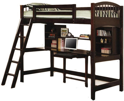 Leon Cappuccino Twin Loft Bed with Desk