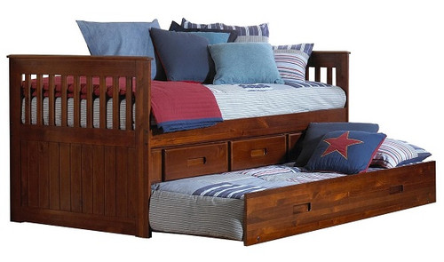 Ferguson Brown Cherry Twin Captains Bed with Trundle
