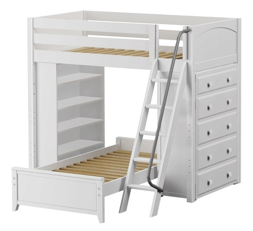 Lingo White Twin Size Storage L Shaped Bunk Beds