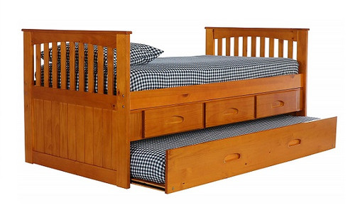 Stoney Creek Honey Twin Captains Bed with Trundle