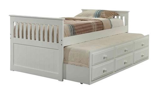 Park City White Twin Combo Captain's Trundle Bed