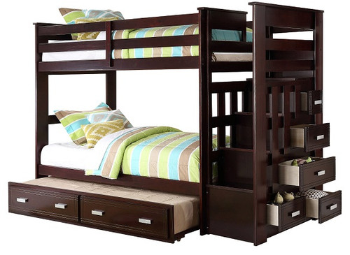 Wynn Espresso Twin over Twin Bunk Bed with Trundle and Stairs