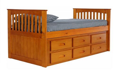 Stoney Creek Honey Twin Captains Bed