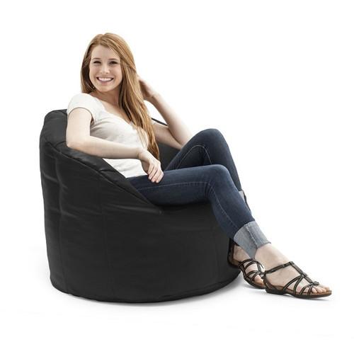Black Vegan Leather Bean Bag Lounge Chair