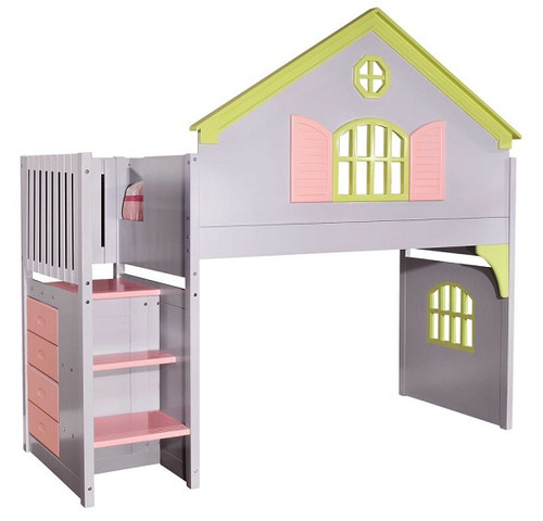 New Playhouse Pastel Girls Twin Loft Bed with Stairs