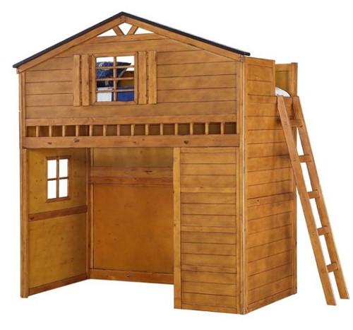 Fort Cody Honey Oak Twin Playhouse Loft Bed