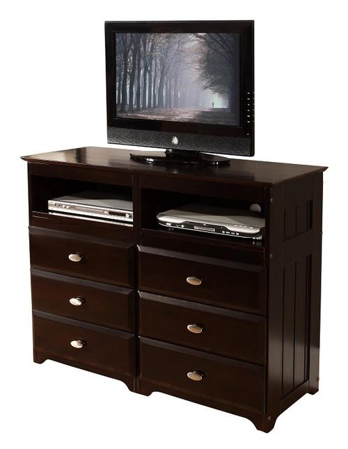 Huntington Espresso 6 Drawer Media Dresser